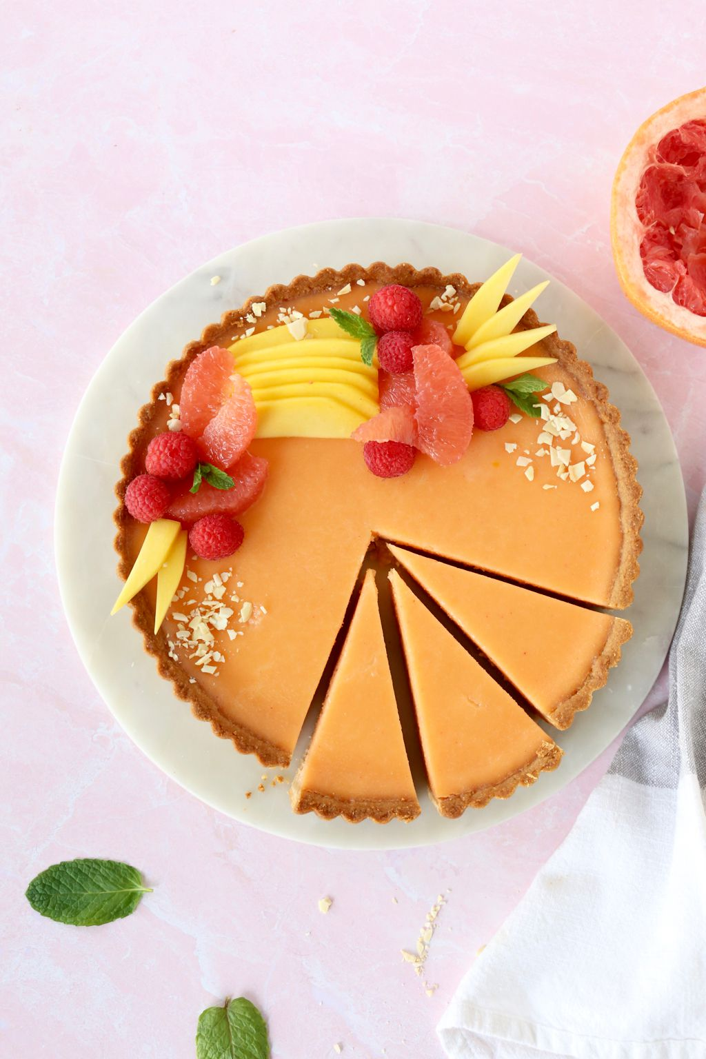 Grapefruit Curd Tart with Almond Shortbread Crust