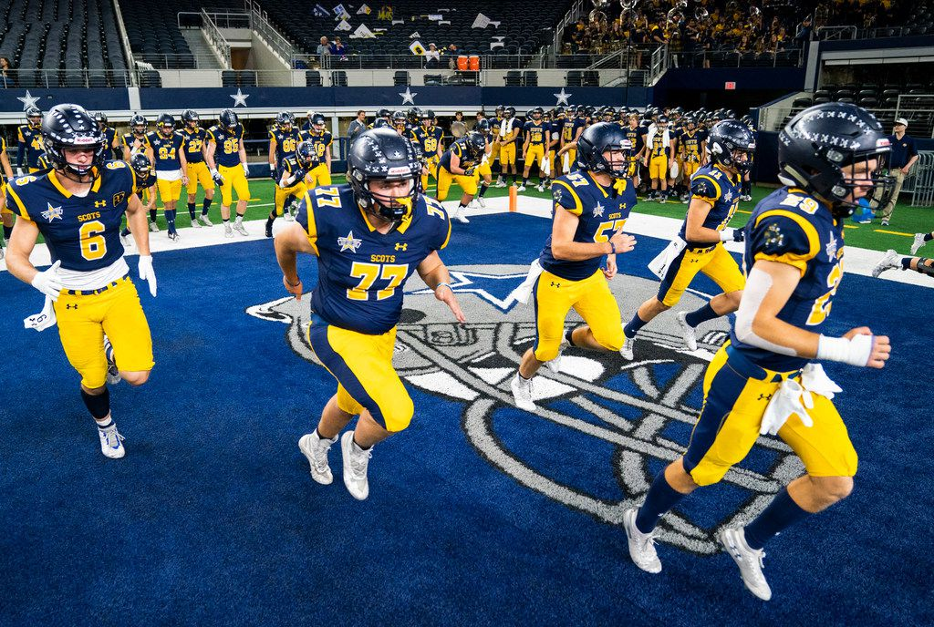 Highland Park football players warm up before a Class 5A Division I area-round playoff game between Magnolia and Highland Park on Thursday, November 21, 2019 at AT&T Stadium in Arlington. (Ashley Landis/The Dallas Morning News)