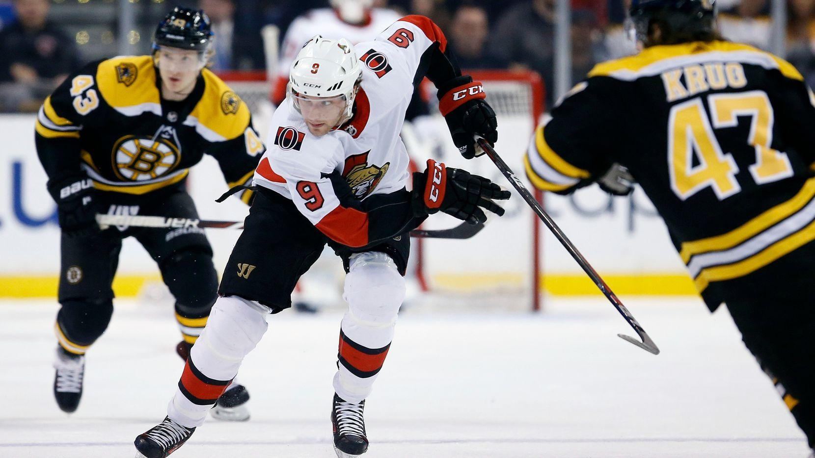 Ottawa Senators' Bobby Ryan (9) skates during the first period of an NHL hockey game against the Boston Bruins in Boston, Saturday, April 7, 2018. (AP Photo/Michael Dwyer)