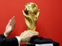 The FIFA World Cup trophy tours Cypress en route to Russia in 2018. (AP Photo/Petros Karadjias)