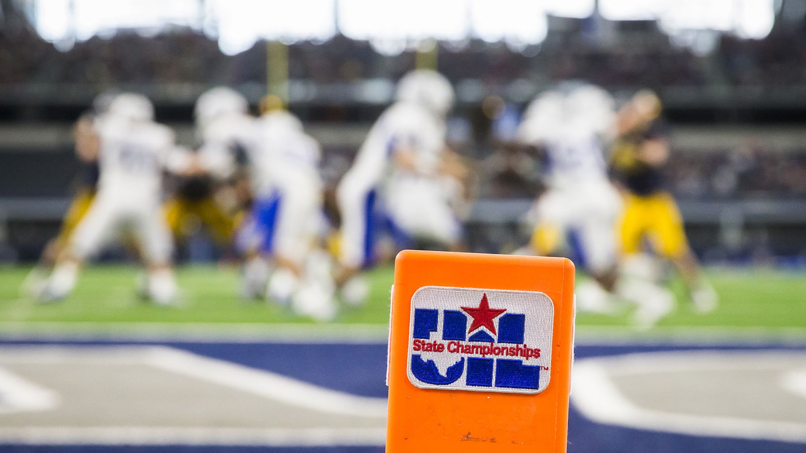 File photo of UIL logo on a pylon at the 2016 football state championships at AT&T Stadium.