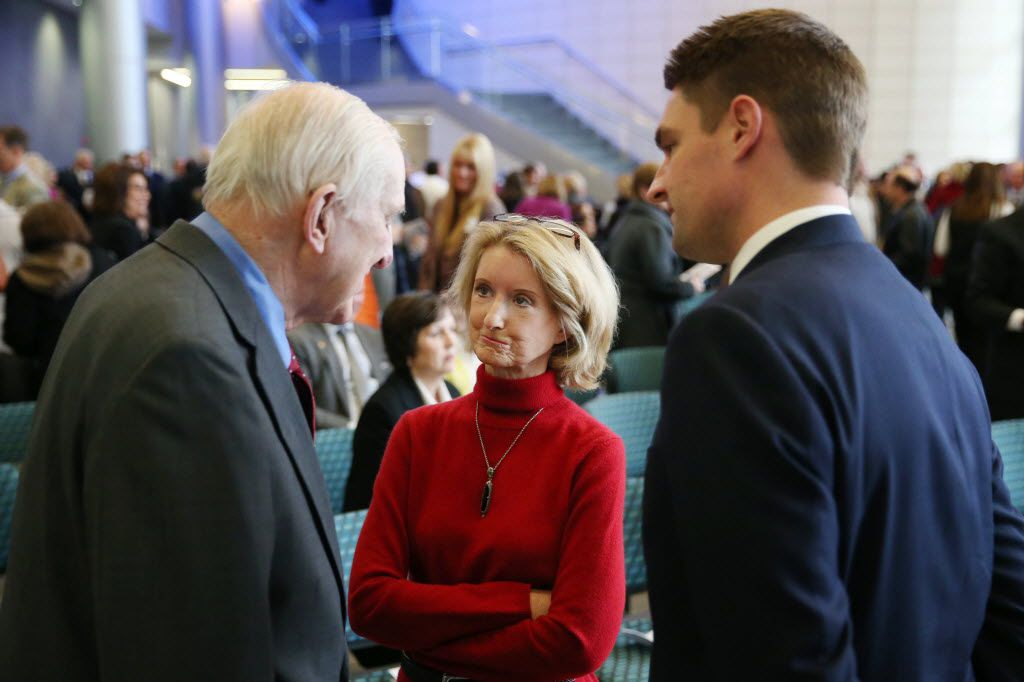 Texas state Rep. Jodie Laubenberg speaks with U.S. Rep. Sam Johnson (left) and Texas state Rep. Jeff Leach after the ribbon-cutting ceremony for the Cary A. Israel Health Sciences Center on the campus of Collin College in McKinney.