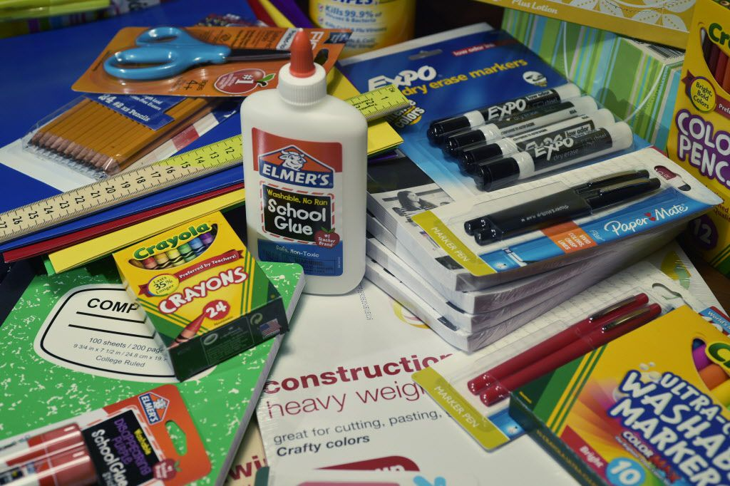 The complete set of school supplies for a Denton ISD fourth grade student for the 2015-2016 school year, Friday, July 17, 2015, in Denton, TX. David Minton/DRC