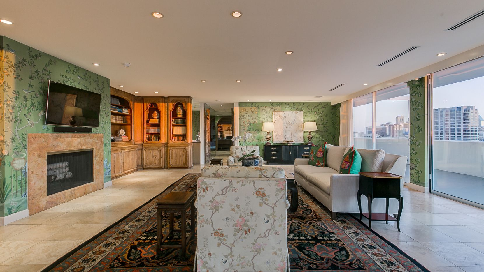A look at the living room at 3701 Turtle Creek Blvd., Penthouse A, in Dallas.