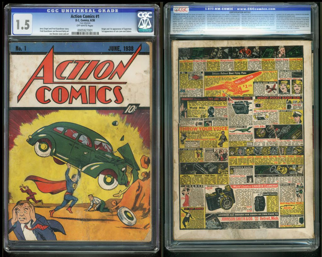 The front and back cover of Action Comics No. 1 from 1938, featuring the debut of Superman.