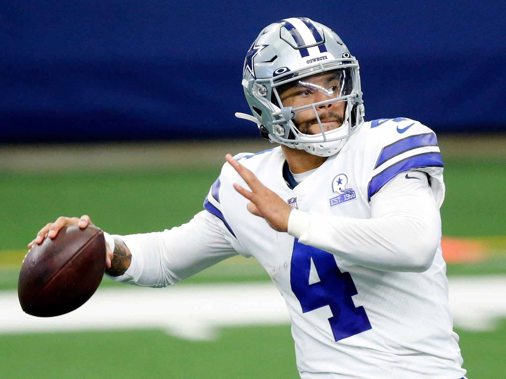 Dallas Cowboys quarterback Dak Prescott (4) throws a fourth quarter pass against the Cleveland Browns at AT&T Stadium in Arlington, Texas, Sunday, October 4, 2020. (Tom Fox/The Dallas Morning News)