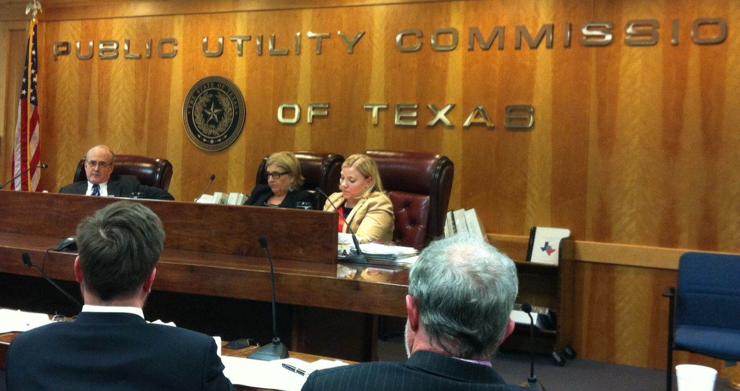 Public Utility Commission members (from left) Kenneth Anderson Jr., Donna Nelson and Brandy Marty Marquez heard testimony Thursday.