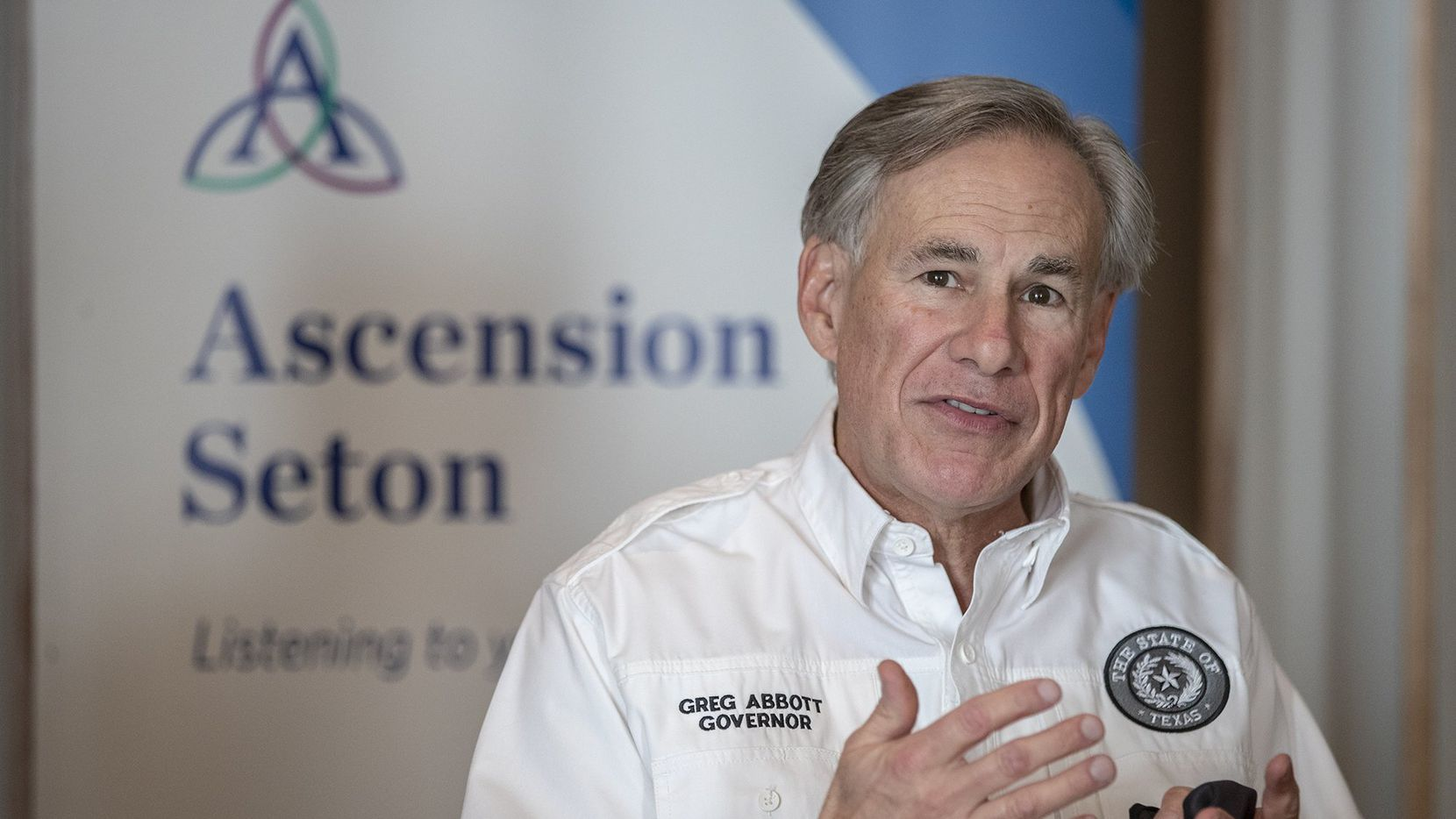 Gov. Greg Abbott speaks  to the local media before receiving a dose of a Pfizer-BioNtech COVID-19 vaccine at the Ascension Seton Medical Center on Tuesday, December 22, 2020.