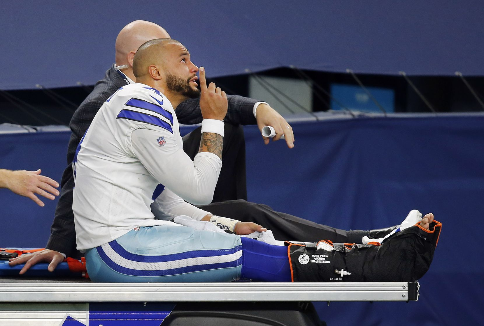 A tearful Dak Prescott pointed skyward as he was carted off the field after his injury at AT&T Stadium. He had surgery that night and is expected to be out four to six months as he rehabs and prepares for next season.
