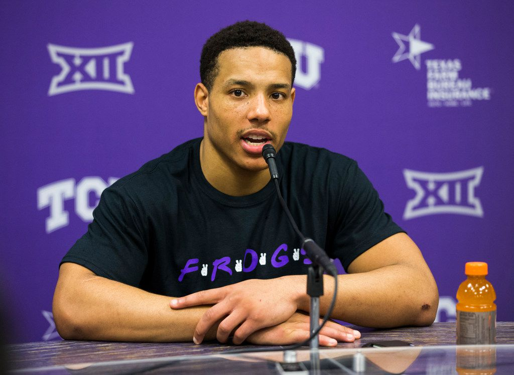 TCU Horned Frogs guard Desmond Bane (1) speaks to reporters after an NCAA mens basketball game between Baylor and TCU on Saturday, February 29, 2020 at Ed & Rae Schollmaier Arena on the TCU campus in Fort Worth. TCU won 75-72. (Ashley Landis/The Dallas Morning News)