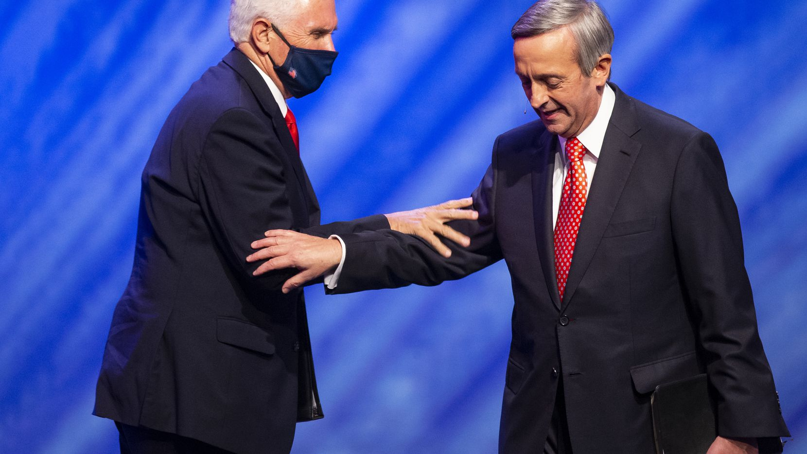 Pastor Robert Jeffress introduces Vice President Mike Pence before speaking at First Baptist Church's Celebrate Freedom Sunday event in downtown Dallas on Sunday, June 28, 2020.