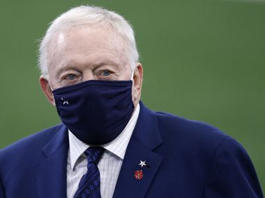Dallas Cowboys owner and general manager Jerry Jones walks the field during warmups before a game against the Cleveland Browns at AT&T Stadium in Arlington, Texas on Saturday, October 4, 2020.