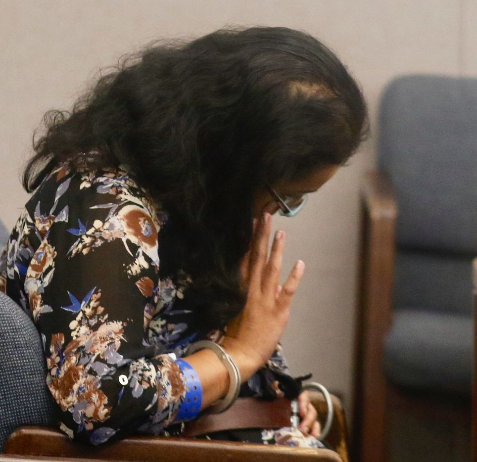 Sini Mathews, mother of Sherin Mathews, waits for her and her husband's hearing to resume in Judge Cheryl Lee Shannon's courtroom on Wednesday.