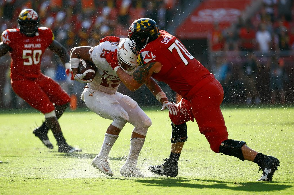 Maryland and offensive lineman Sean Christie were a big roadblock for Texas in two straight season openers. (AP Photo/Patrick Semansky)
