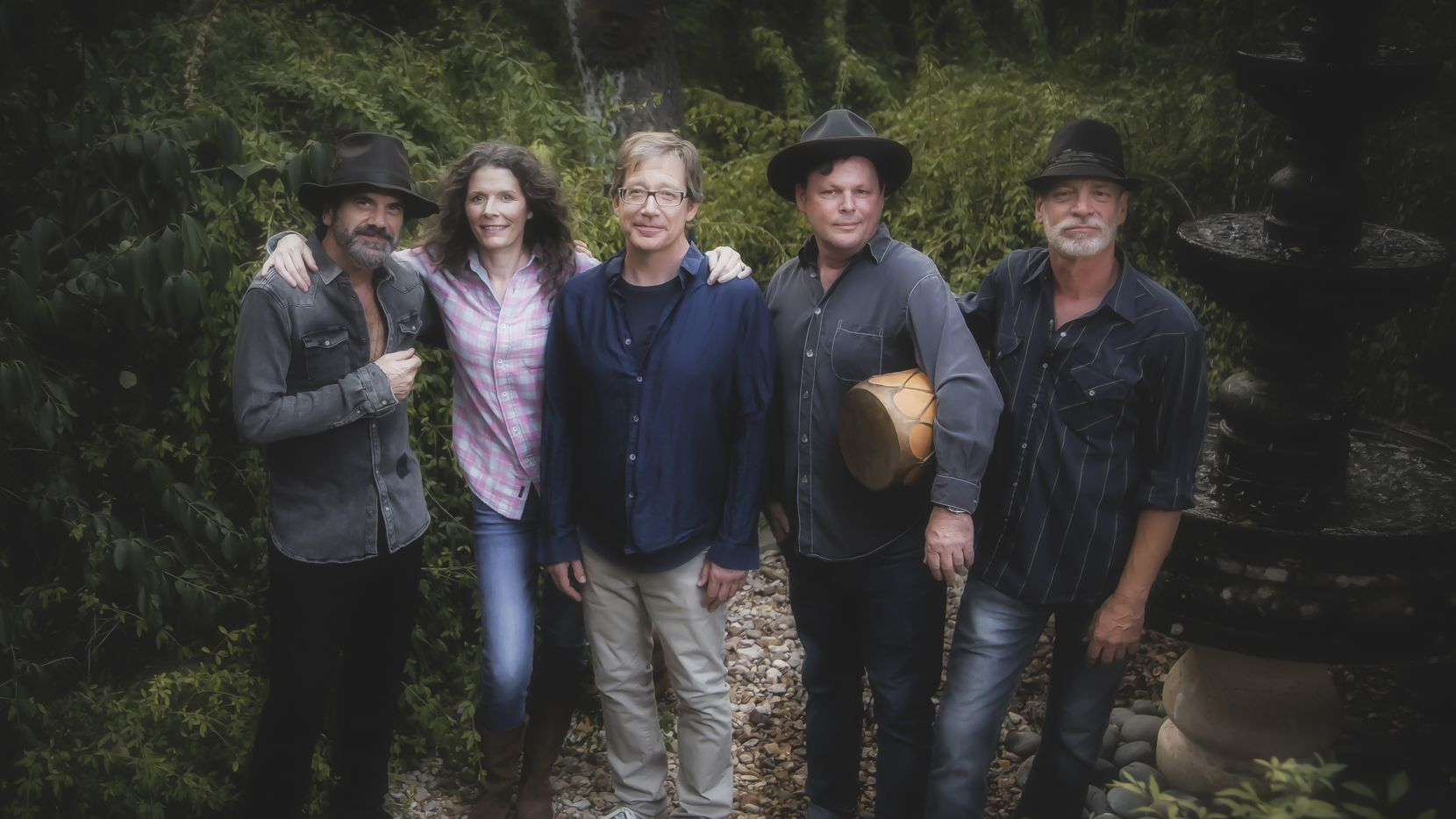 """From left, Kenny Withrow, Edie Brickell, John Bush, Brandon Aly and Brad Houser appear on the upcoming record """"Hunter and the Dog Star"""" from Edie Brickell and New Bohemians."""