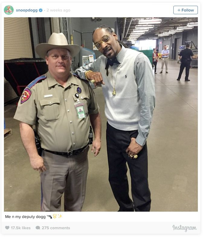 Rapper Snoop Dogg posted this photo  of himself and DPS Trooper Billy Spears to his Instagram page, causing much consternation from Spears' employer.
