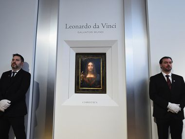 Christie's unveils Leonardo da Vinci's 'Salvator Mundi' (pictured) at Christie's New York on October 10, 2017 in New York City.