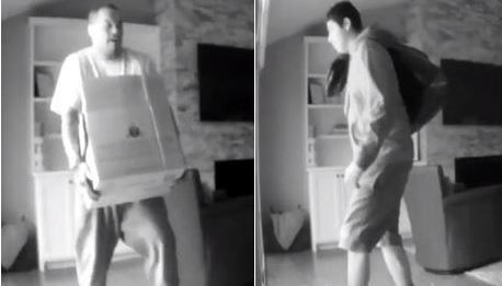 These images were captured on surveillance video after two men burglarized a home in northwest Dallas earlier this month.