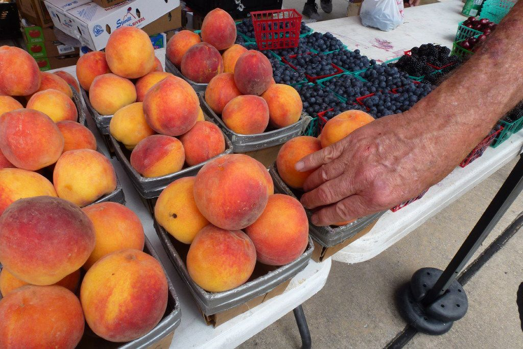 Stubblefield Produce brings in Parker County peaches, at their height of sweetness and juiciness, to Plano Farmers Market.