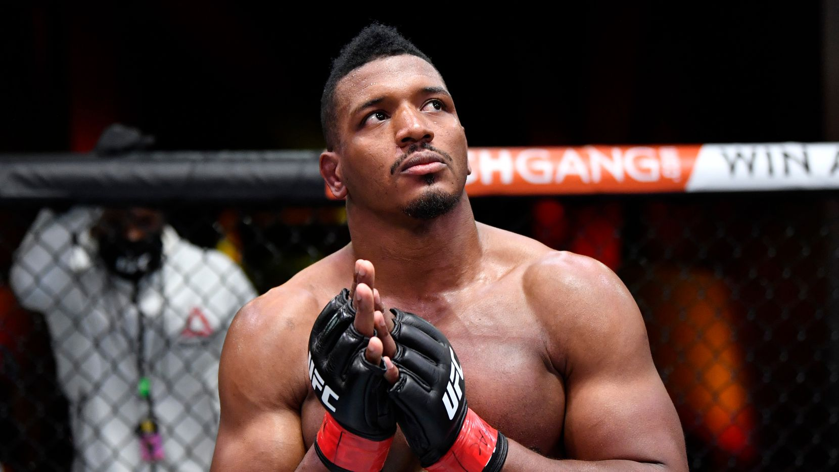 Alonzo Menifield reacts after his submission victory over Fabio Cherant in their light heavyweight fight during the UFC 260 event at UFC APEX on March 27, 2021 in Las Vegas, Nevada.