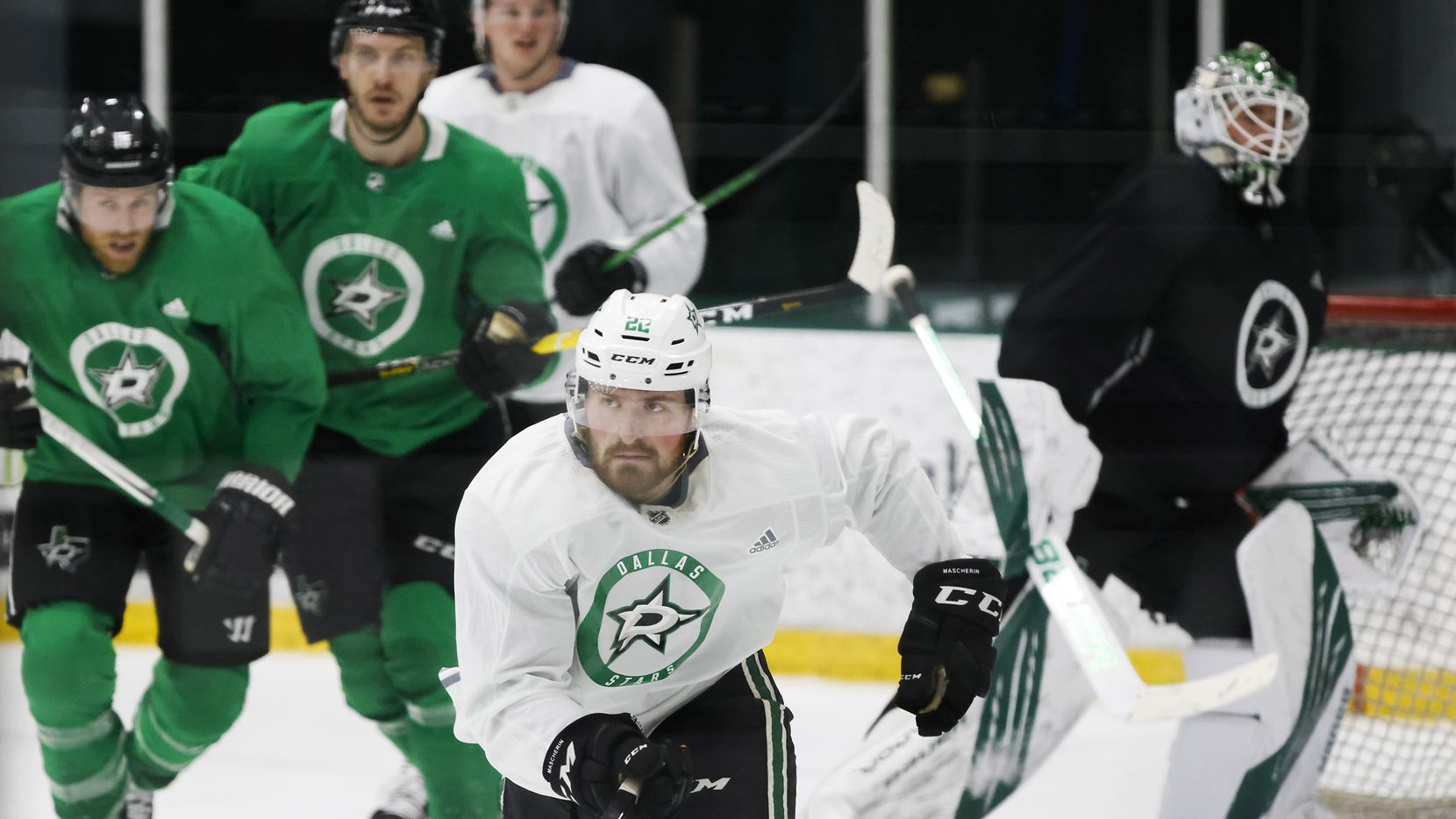 Dallas Stars left wing Adam Mascherin skates in a scrimmage dduring a training camp practice at the Comerica Center on Wednesday, Jan. 6, 2021, in Frisco.