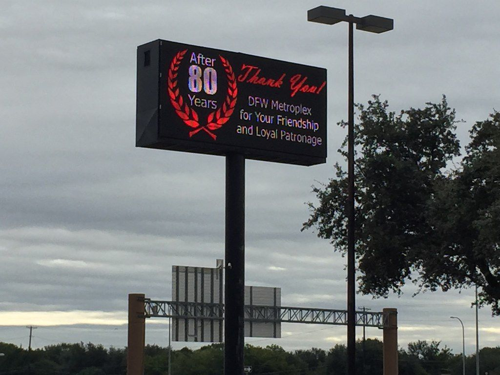 Exterior digital sign at Freed's Furniture located at 4355 Lyndon B Johnson Fwy, Dallas, TX 75244. Photo taken Oct. 18, 2018.
