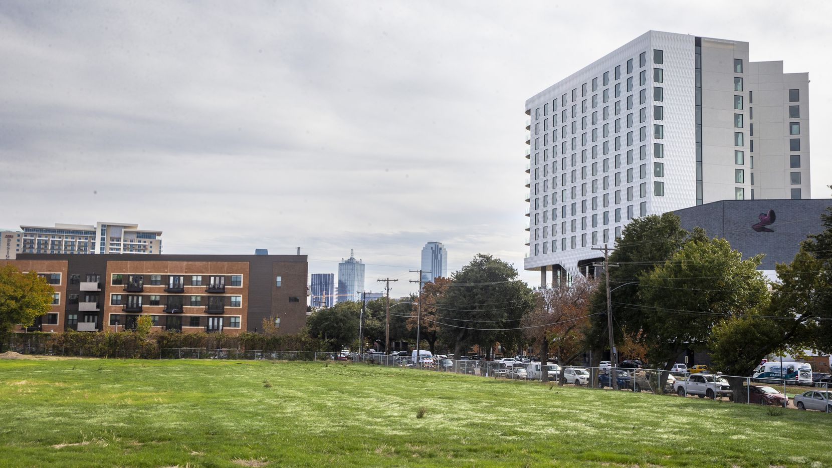 A vacant lot across from the Virgin Hotels Dallas building in the Design District in Dallas is where developer Urby plans to build an apartment tower.