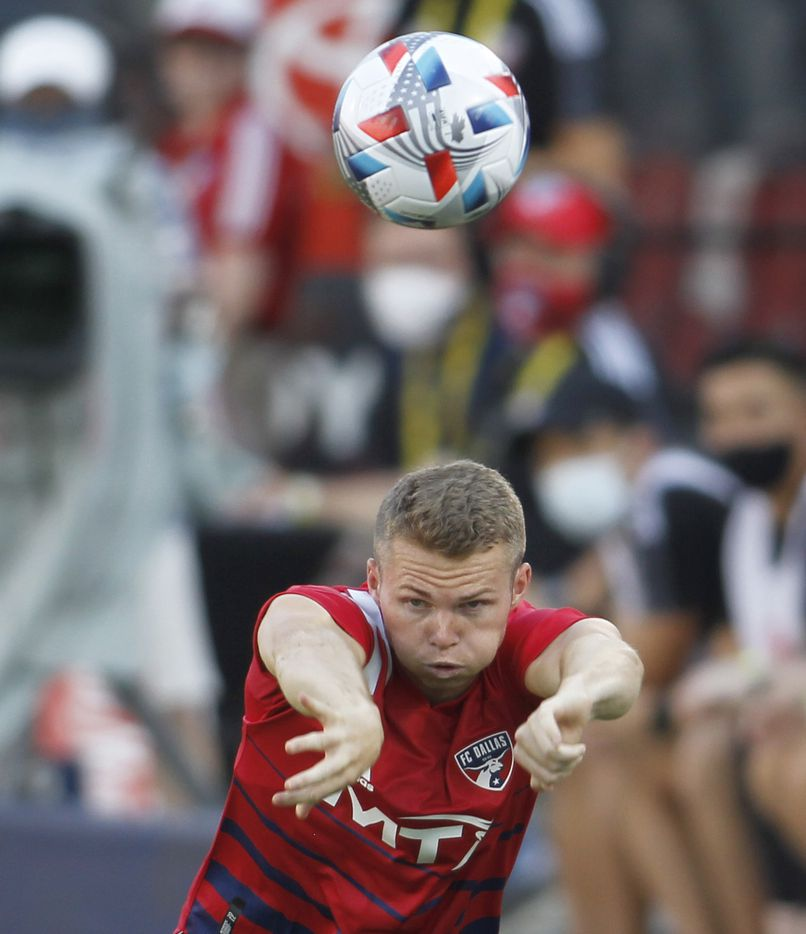FC Dallas defenseman John Nelson (26) tosses the ball back into play during first half play against Minnesota United. The two teams played their MLS match at Toyota Stadium in Frisco on June 19, 2021. (Steve Hamm/ Special Contributor)