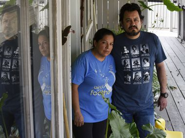 Aurora Salazar and her husband Alberto Hernandez outside their apartment in Dallas, April 07, 2020. Aurora is a mother of four who has been out of a job for a few weeks, and her husband's hours at work have declined since the coronavirus.
