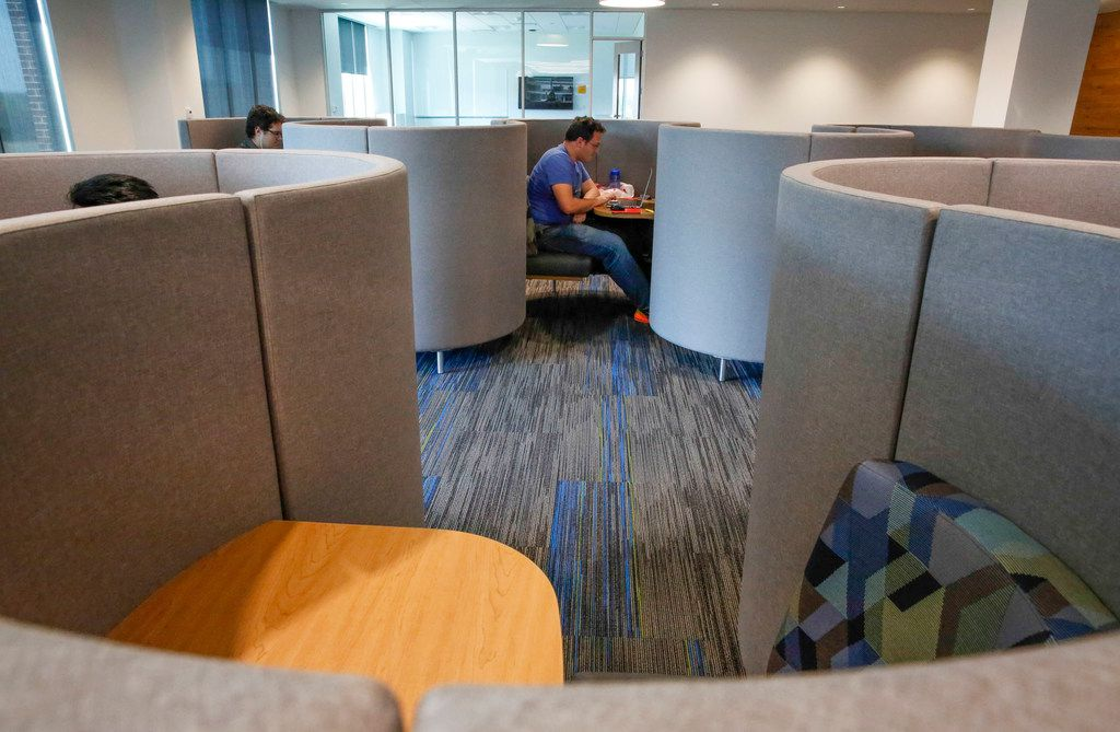 Joshua Hernandez, of Dallas, who is in his junior year, studies in a cubicle in the Student Library inside the new Student Center building opened on the campus of UNT Dallas Monday, August 26,  2019. (Brian Elledge/Staff Photographer)