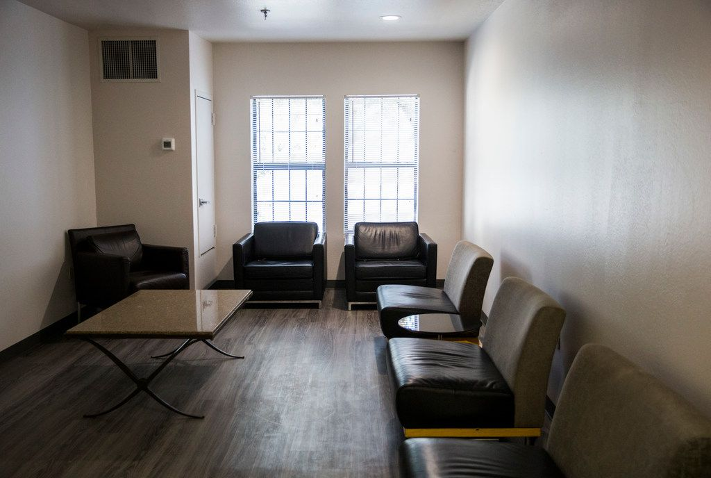 A sitting area inside St. Jude Center, on the third floor of the 104-unit facility