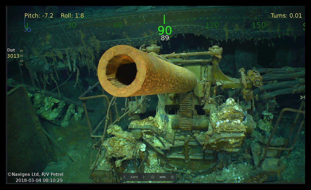 This handout photograph shows wreckage from the USS Lexington, a US aircraft carrier that sank during World War II during the Battle of the Coral Sea. The wreckage was found Sunday, some 2 miles below the surface and more than 500 miles off the eastern coast of Australia.