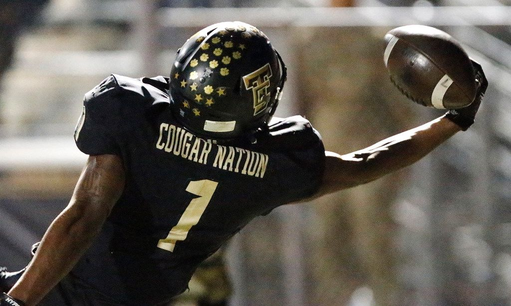 The Colony High School wide receiver Myles Price (1) was unable to hang onto this pass in the end zone during the first half as The Colony High School hosted Frisco Lone Star High School in a district 5-5A Division I football game at Tommy Briggs Cougar Stadium on Friday night, October 18, 2019.