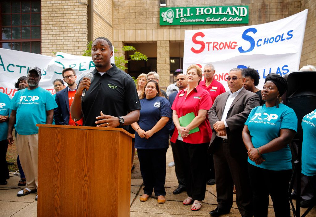 For Oak Cliff founder Taylor Toynes, a DISD alum, speaks to those gathered for a press conference announcing the launch of Strong Schools Strong Dallas coalition, a diverse group of North Texas organizations supporting a Tax Ratification Election (TRE).  The advocacy group seeks adequate funding to advance educational outcomes for Dallas Independent School District (DISD). The press conference was held at the Holland Elementary School in Dallas, Thursday, April 20, 2017. (Tom Fox/The Dallas Morning News)