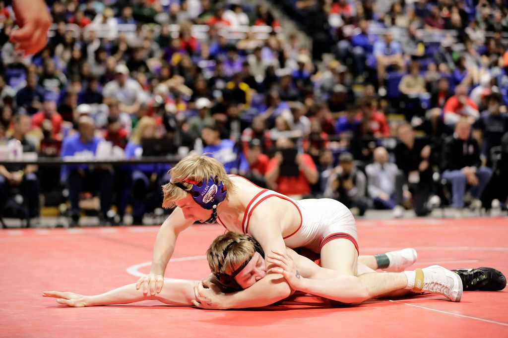 Braxton Brown of Allen wrestles during the UIL Texas State Wrestling Championships, Saturday, February 22nd, 2020, at the Berry Center in Cypress, Texas. Brown won the match.  Todd Spoth/Special Contributor ORG XMIT: hswrestlinglede_0223spo