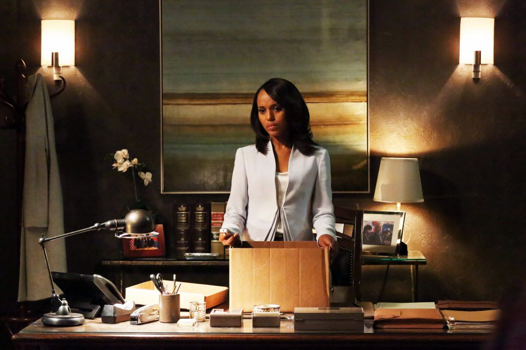 """This undated publicity photo released by ABC shows Kerry Washington as Olivia Pope in a scene from """"Scandal.""""  Washington was nominated for an Emmy Award for best actress in a drama series on, Thursday July 10, 2014. The 66th Primetime Emmy Awards will be presented Aug. 25 at the Nokia Theatre in Los Angeles."""