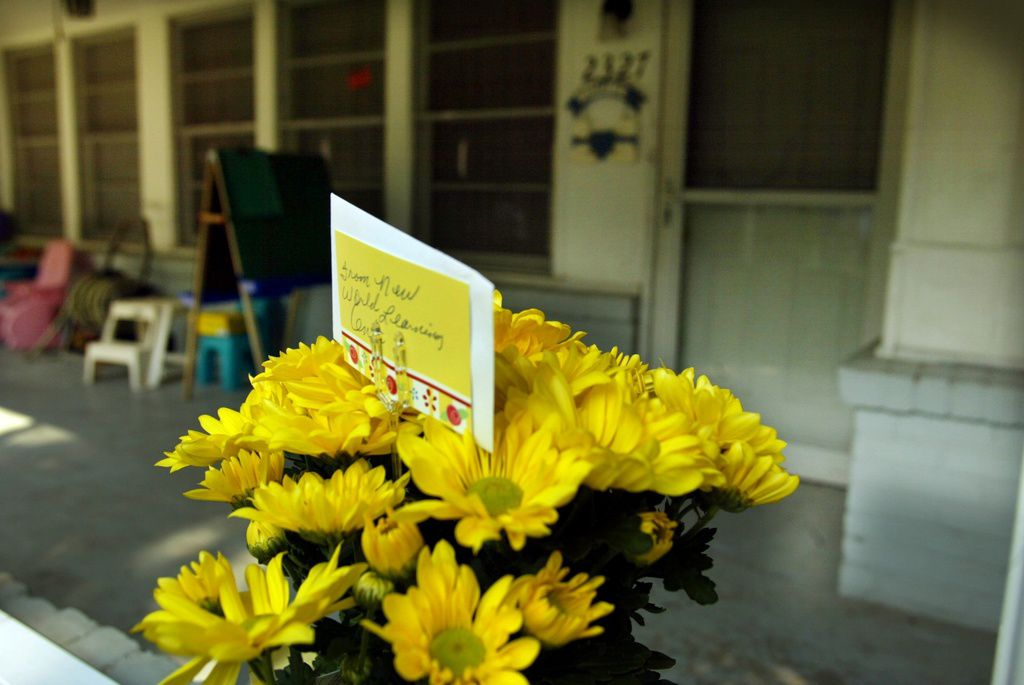 Flowers were left outside the Ochoa home after the slayings.