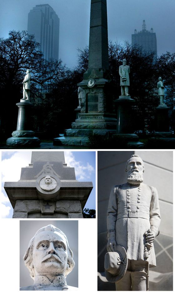 "The Dallas school board has renamed four schools once named after Confederate generals depicted on the Confederate War Memorial in downtown Dallas. They are Robert E. Lee (top photo, far left), and (clockwise from right) Thomas ""Stonewall"" Jackson, Albert Sidney Johnston and William L. Cabell."