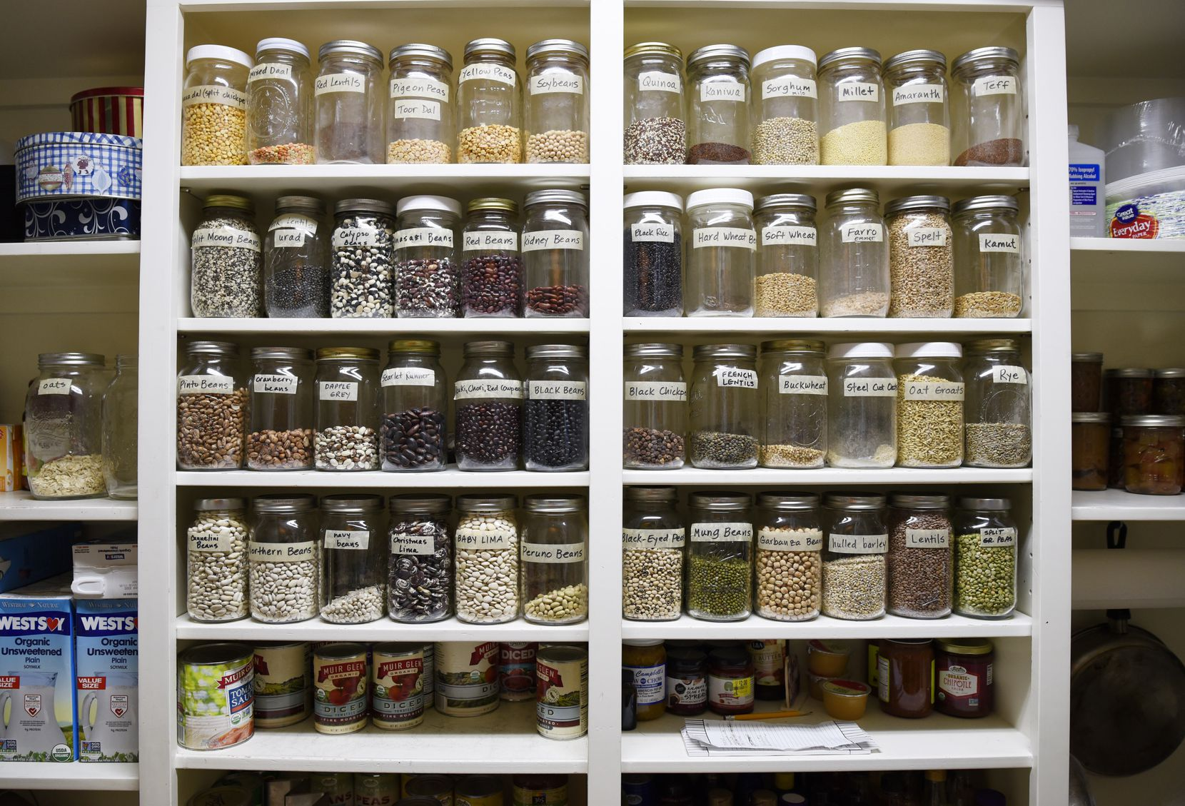 Pat and Dianne Doyle keep an assortment of legumes and grains in their kitchen.