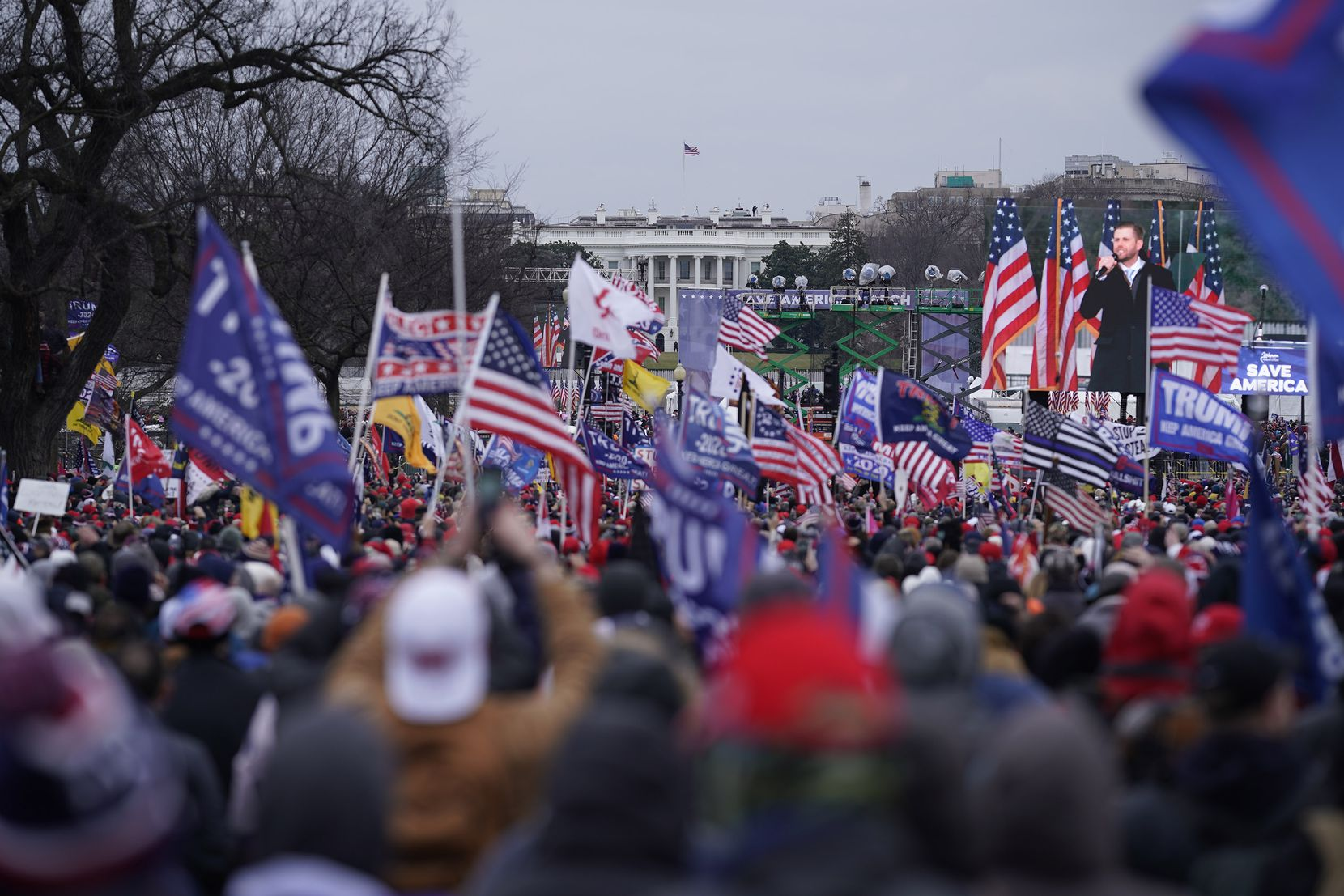 Protesters gather on the second day of pro-Trump events fueled by President Donald Trump's continued claims of election fraud in an attempt to overturn the results before Congress finalizes them in a joint session of the 117th Congress on Wednesday, Jan. 6, 2021 in Washington, D.C.
