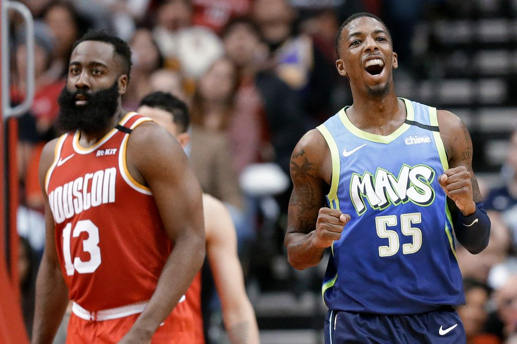 Dallas Mavericks guard Delon Wright (55) reacts after drawing a foul during the second half of the team's NBA basketball game against the Houston Rockets, Friday, Jan. 31, 2020, in Houston. (AP Photo/Eric Christian Smith)