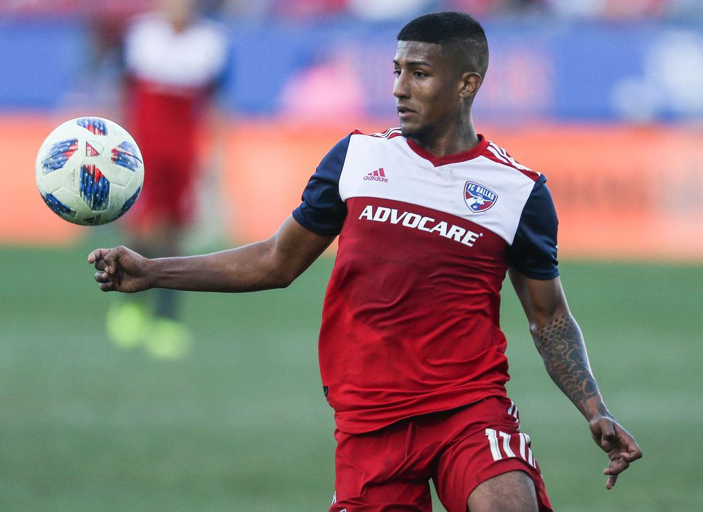 FILE - FC Dallas midfielder Santiago Mosquera (11) receives a pass during the second half of a match against Sporting Kansas City on Sunday, Oct. 21, 2018, at Toyota Stadium in Frisco. (Ryan Michalesko/The Dallas Morning News)