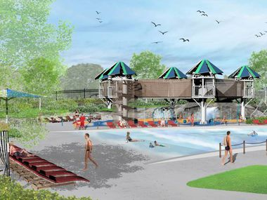 An artistic rendering shows the design of the new outdoor family aquatic facility at Oak Point Recreation Center. The $10 million project was approved by voters under a 2017 bond. Work is expected to be completed by spring of 2022.