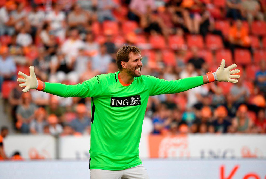 "Dirk Nowitzki of Nowitzki All Stars gestures during the ""Champions for Charity"" friendly football match at Bay Arena on July 21, 2019 in Leverkusen, western Germany. (Photo by INA FASSBENDER / AFP)INA FASSBENDER/AFP/Getty Images"