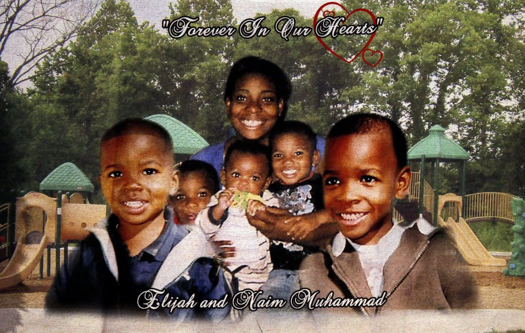 A photo displayed at the funeral services for Elijah Muhammad, 3, and Naim Muhammad, 5 and at Inspiring Body of Christ in Dallas on Aug. 27, 2011. Their father was later sentenced to death for drowning them in a putrid creek