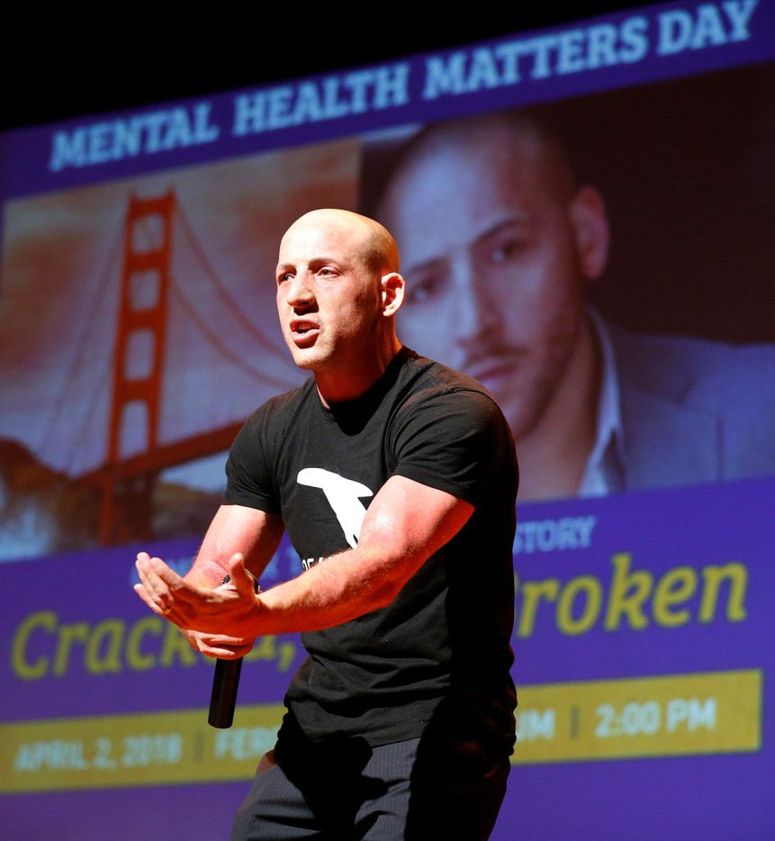 """""""Just because you have your pain today doesn't mean you don't get a beautiful tomorrow. But you have to be here to get there in the first place,"""" suicide survivor Kevin Hines told a packed auditorium at Texas A&M University Commerce."""