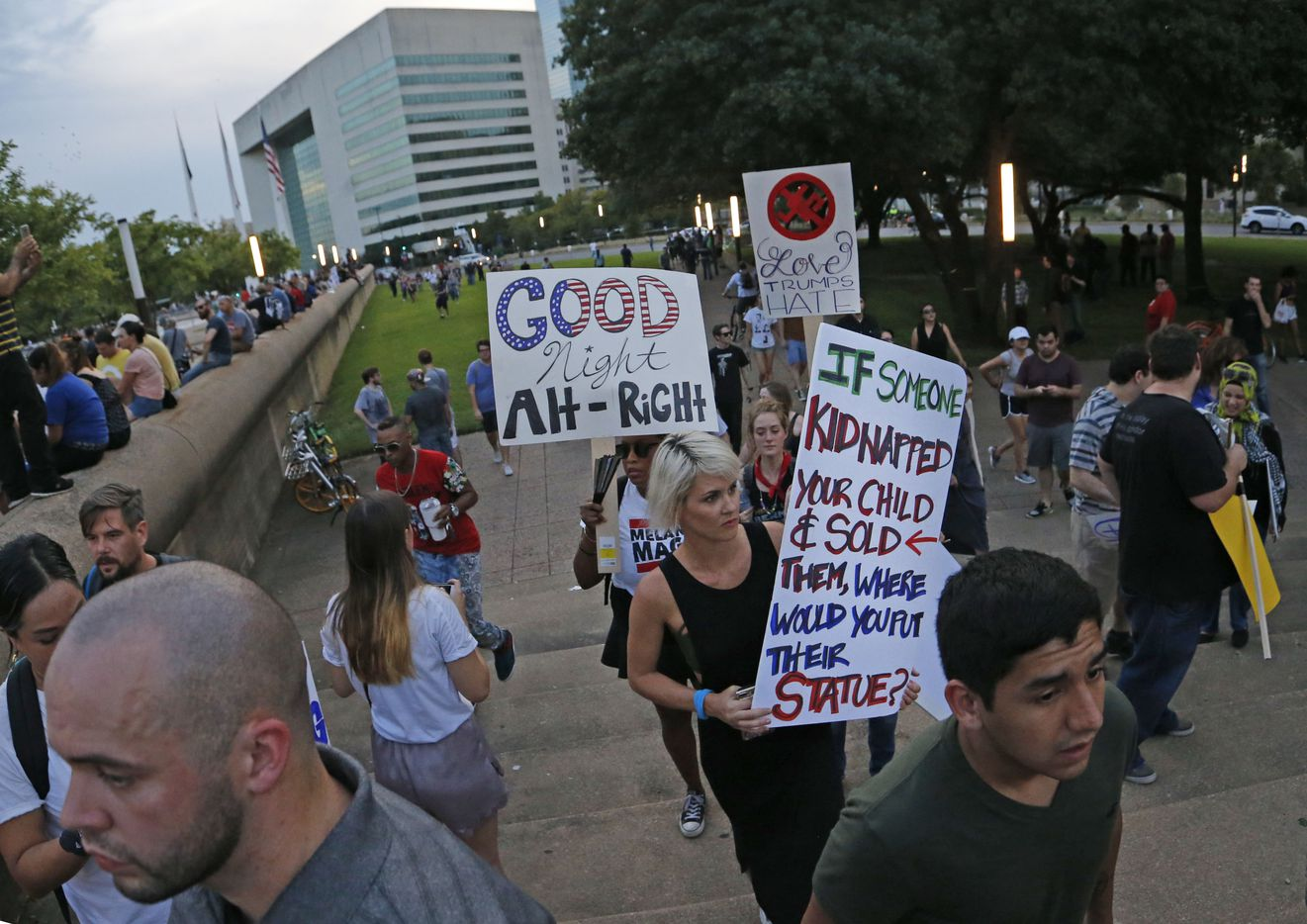 Protestors arrive during the March Against White Supremacy.
