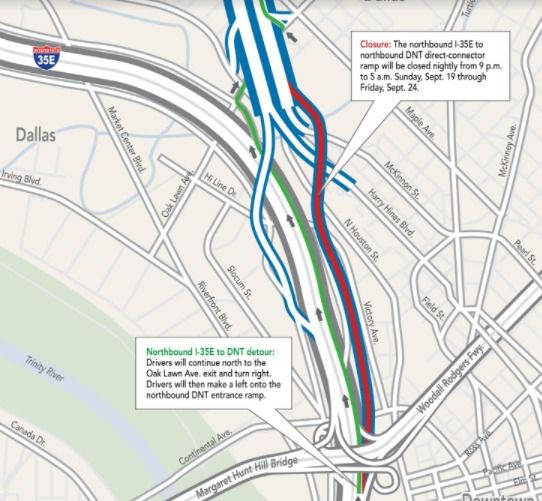 The ramp connecting the northbound lanes of Interstate 35E to the northbound lanes of Dallas North Tollway will close each night next week, according to the North Texas Tollway Authority.