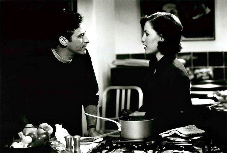 """Jon Stewart and Gillian Anderson in 1998's """"Playing By Heart."""" Surely you remember this. No?"""