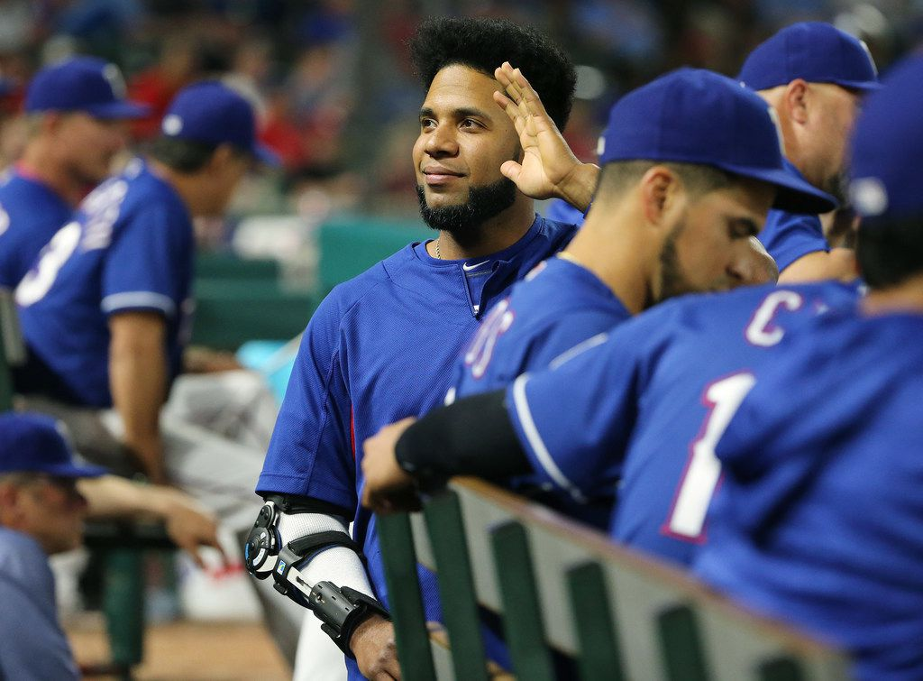 Texas Rangers shortstop Elvis Andrus (1) waves to fans during the seventh inning in a Major League Baseball game between the Detroit Tigers and the Texas Rangers at Globe Life Park in Arlington, Texas Tuesday May 8, 2018. Andrus is currently on the 60-day disabled list. (Andy Jacobsohn/The Dallas Morning News)